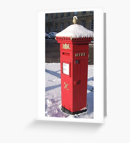 Red Pillar Box like a beacon in the snow Greeting Card