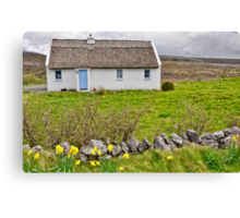 rural irish cottage in the burren countryside, county clare, ireland Canvas Print