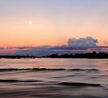 Moon Rise Over the Greenough River  by Pene Stevens