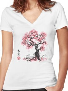 Forest Spirits sumi-e  Women's Fitted V-Neck T-Shirt