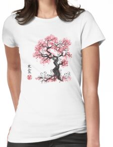 Forest Spirits sumi-e  Womens Fitted T-Shirt
