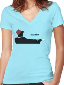 Mad Man (with a Box) Women's Fitted V-Neck T-Shirt