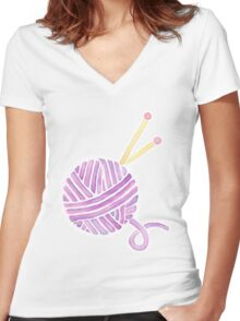 Ball of Yarn - Knitting Watercolor Women's Fitted V-Neck T-Shirt