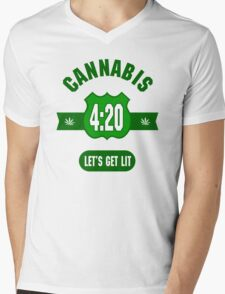 Cannabis 420 Mens V-Neck T-Shirt