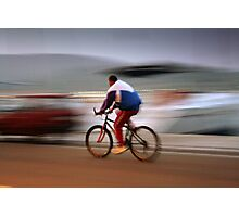man on bicycle. Croatia Photographic Print