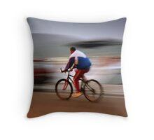 man on bicycle. Croatia Throw Pillow
