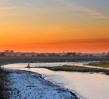 Winter sunset Upton Marshes by kezza883