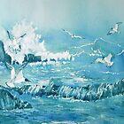 Wild Waves with Gulls by Glenn  Marshall