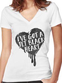 Jet Black Heart Women's Fitted V-Neck T-Shirt