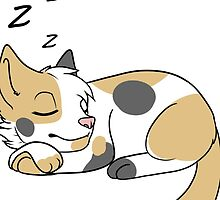 Sleepy Pale Calico Cat  by thefrizzykitten