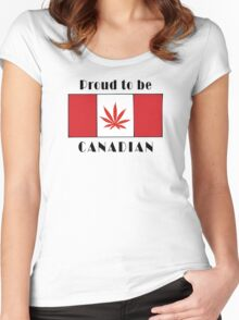Canadian Flag Weed Women's Fitted Scoop T-Shirt