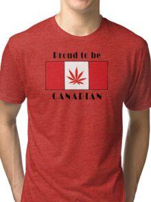 Canadian Flag Weed Tri-blend T-Shirt