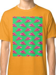 Pink Paper Plane On Green Base Classic T-Shirt