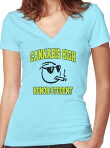 Cannabis High Women's Fitted V-Neck T-Shirt