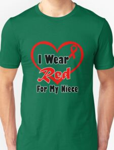 Niece i wear a red heart ribbon geek funny nerd T-Shirt