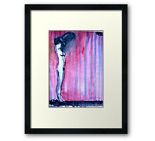 figure changing in a striped room Framed Print