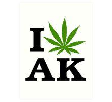 I Love Alaska Marijuana Cannabis Weed  Art Print