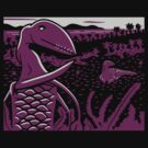 Dimorphodon and Scelidosaurus - Gray and Purple by David Orr