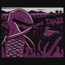 Dimorphodon and Scelidosaurus - Gray and Purple by David Orr