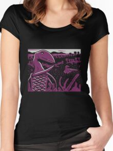 Dimorphodon and Scelidosaurus - Gray and Purple Women's Fitted Scoop T-Shirt