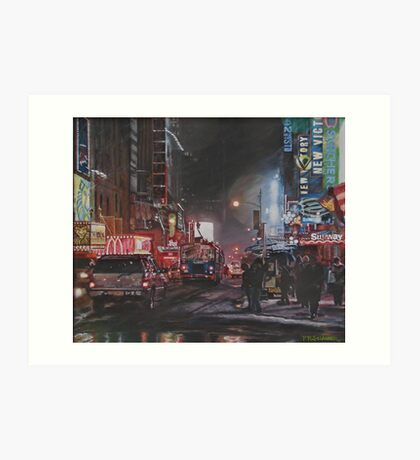 New York Night Lights in Snow Art Print