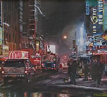 New York Night Lights in Snow by Peggy Selander