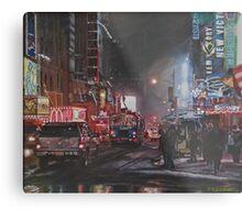 New York Night Lights in Snow Metal Print