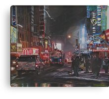 New York Night Lights in Snow Canvas Print