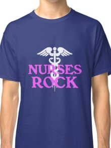 Nurses rock geek funny nerd Classic T-Shirt