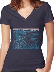 Dimorphodon and Scelidosaurus - Purple and Blue Women's Fitted V-Neck T-Shirt