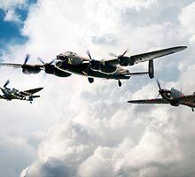 Lancaster Spitfire Hurricane by J Biggadike
