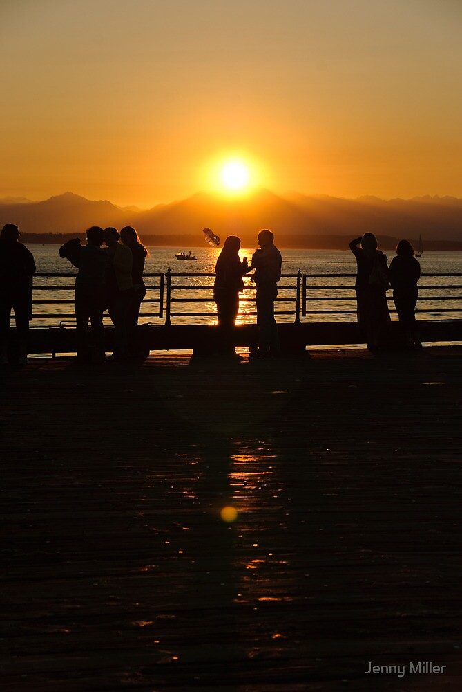 Seattle people at sunset...in Seattle. by Jenny Ryan
