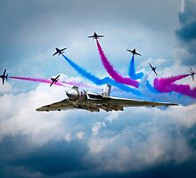 Vulcan Red Arrows Break by J Biggadike