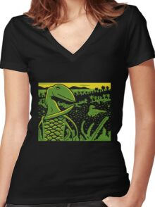 Dimorphodon and Scelidosaurus - Yellow and Green Women's Fitted V-Neck T-Shirt
