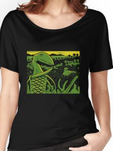 Dimorphodon and Scelidosaurus - Yellow and Green Women's Relaxed Fit T-Shirt