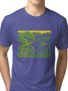 Dimorphodon and Scelidosaurus - Yellow and Green Tri-blend T-Shirt