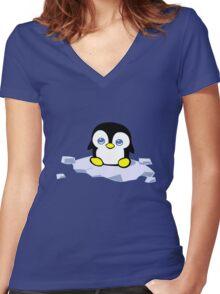 Penguin geek funny nerd Women's Fitted V-Neck T-Shirt