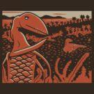 Dimorphodon and Scelidosaurus - Tan and Orange by David Orr