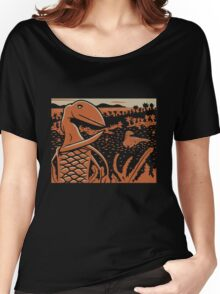 Dimorphodon and Scelidosaurus - Tan and Orange Women's Relaxed Fit T-Shirt