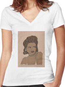 1920s Vintage Female Portrait 3 Women's Fitted V-Neck T-Shirt