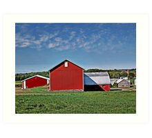 Red Country Barn, Manipulated Art Print