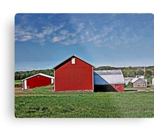 Red Country Barn, Manipulated Metal Print