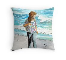 Searching the Winter Shoreline Throw Pillow