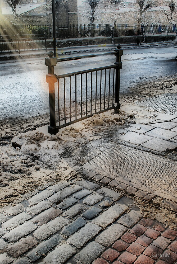 Railings and Cobbles and Sun Rays by Karen Martin