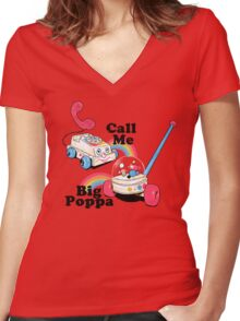 Call Me Big Poppa Women's Fitted V-Neck T-Shirt