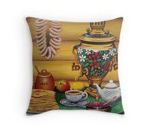 Russian Tea Time with Samovar Throw Pillow