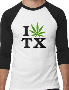 I Love Texas Marijuana Cannabis Weed Men's Baseball ¾ T-Shirt