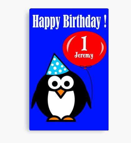 Personalized birthday card penguin with balloon geek funny nerd Canvas Print
