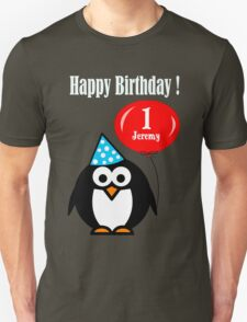 Personalized birthday card penguin with balloon geek funny nerd T-Shirt