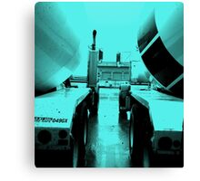 """Steel Blue"" Cement-Mixing Trucks Canvas Print"